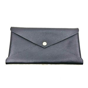 Genuine Thick Pebbled Leather Envelope Clutch